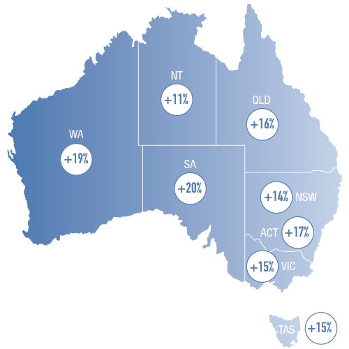 Australian map with hiring outlook statistics per state